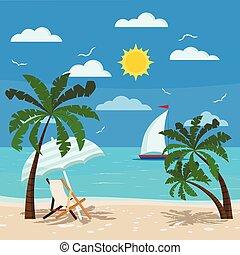 salon, sol, paraply, bekvem, chaise, seascape.