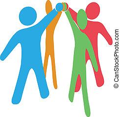 samarbejd, sammenvokse, folk, hænder oppe, sammen, hold