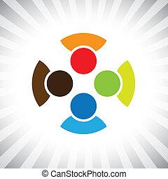 samfund, kammerater, også, spille, morskab, ansatte, arbejdere, get-together-, folk, møde, har, kammerater, vektor, buddies, børn, og, diversity, graphic., dåse, børn, enhed, illustration, forestiller, denne