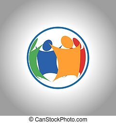 samlet, gruppe, folk