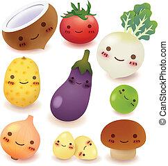 samling, frugt, grønsag