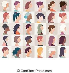 samling, headshot.different, piger, amerikaner, kaukasisk, diversity, sæt, kvinder, -, araber, kvindelig, portræt, nationaliteter, multiethnic, isolated.asian, gruppe, avatar, people.profile, afrikansk