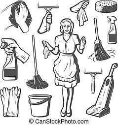samling, rensning, elementer, tjeneste, vinhøst