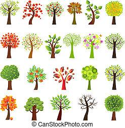 samling, træer
