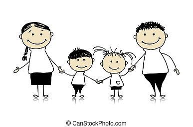 sammen, affattelseen, glad familie, smil, skitse