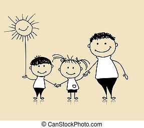 sammen, affattelseen, glade, børn, far, familie, smil, skitse
