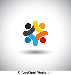 sammen, samfund, farverig, spille, også, -, folk, solidaritet, vektor, børn, møde, ansatter, og, skole, graphic., dåse, enhed, børn, iconerne, illustration, gårdspladsen, forestiller, begreb, denne