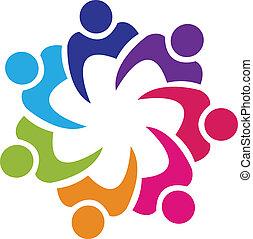 sammenslutning, logo, vektor, teamwork, folk