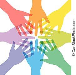 sammenvokse, farverig, folk, mange, hånd, teamwork, farvedias
