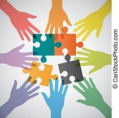 sammenvokse, farverig, folk, mange, hånd, teamwork, problem, sloving