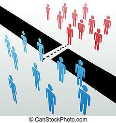 sammenvokse, separat, folk, sammen, merge, knytte sammen, grupper