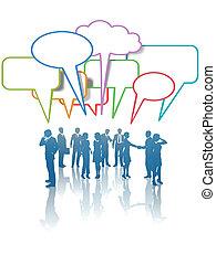 samtalen, branche folk, netværk, kommunikation, medier, farver