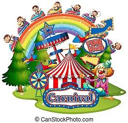 scene, har, karneval, baggrund, aber, morskab, hvid