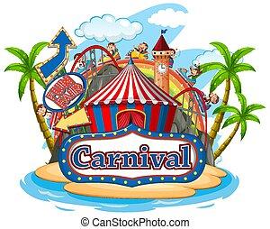 scene, karneval, morskab, hvid baggrund, aber, har