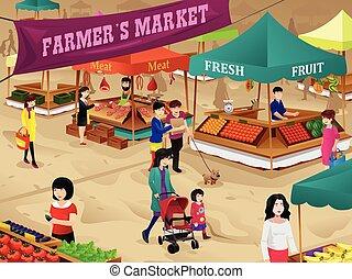 scene, marked, bønder