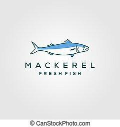 seafood, vektor, illustration, fish, etikette, emblem, kunst, logo, beklæde, mackerel, hipster, vinhøst