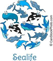 sealife, plakat, havet, vektor, hav, fisk