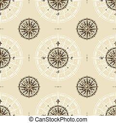 seamless, mønster, kompas steg, vinhøst
