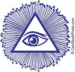 seende, al, øje, forsyn, gud, -, illustration, murer, berømte, vektor, symbol, eller