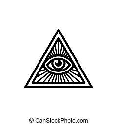 seende, al, øje, symbol