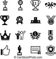 sejre, sæt, held, iconerne