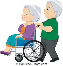 senior, dame, wheelchair, gamle, par