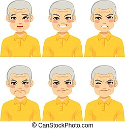 senior mand, udtryk, zeseed