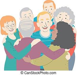 seniors, klemme, gruppe, illustration