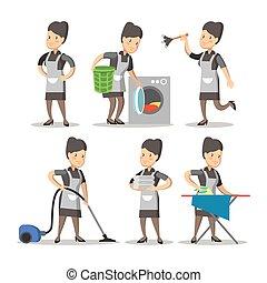 service., klassisk, illustration, tjenestepige, vektor, rensning, cartoon, uniform.