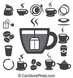 set., illustration, te, ikon, kop, kaffe