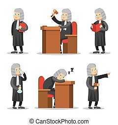 set., justice., karakter, illustration, vektor, dommer, lov, cartoon