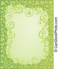 shamrock, swirl, grænse, grønne