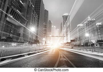 shanghai, nat, finans, moderne, baggrund, zone, byen, handel, lujiazui, og