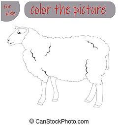 sheep, børn, bog, dyr, coloring, agerjord