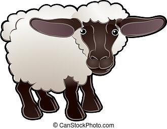 sheep, illustration, cute, vektor, farm dyr