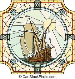 ships., mosaik, afsejlingen