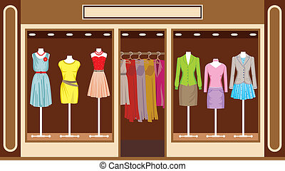 shop, boutique., beklæde, kvinder