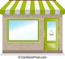 shop, cute, grønne, awnings., ikon