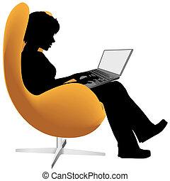 shop, kvinde, laptop, arbejde, computer, stol, det sidder