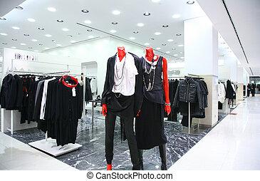 shop, mannequins, klæder