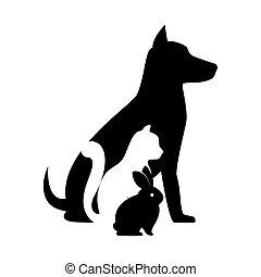 shop, silhuet, yndling, veterinære, hund, tegn, kat, bunny