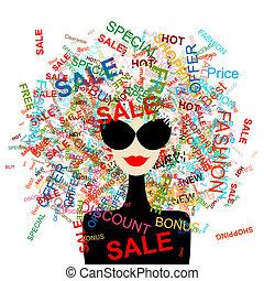 shopping kvinde, begreb, konstruktion, constitutions, mode, din, sale!