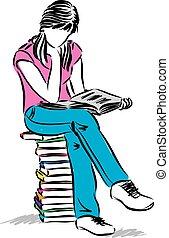 sidde pige, adolescent, illustration, læsning bog