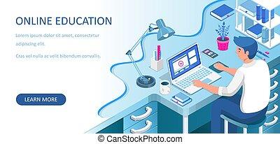 siddende, isometric, home., concept., væv, undervisning, e-learning, tutorials, skrivebord, online, kigge, student, eller, vektor, laptop., kurser, afstand lære, banner., illustration., lejlighed