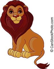 siddende, løve