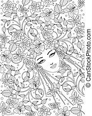 side, kvinde, coloring