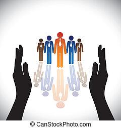 silhuet, concept-, selskab, secure(protect), hånd, ansatter, korporativ, eller, virksomhedsledere