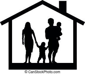 silhuet, familie, illustration, vektor, hus, børn