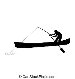 silhuet, fiske, illustration, mand