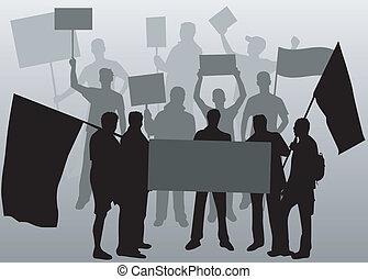 silhuet, folk, -, 2, sort, demonstration